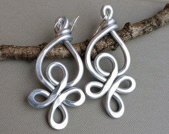 Celtic Knot Big Aluminum Earrings, Very Big Earrings, Light Weight Statement Earrings, Long Dangle Earrings, Celtic Jewelry Gift for Women
