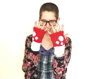 Toadstool mittens. Handmade chunky knit red and white toadstool handwarmers/gloves