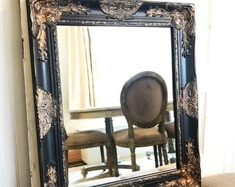 Black Bathroom Mirror, Black and Gold Mirror, Shabby Chic, Vanity Mirror