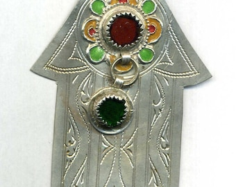 Morocco – Hand of Fatima silver, enamelled and glass beads in cabochon