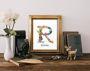 Custom Letter and Name Floral Letter Monogram // Floral ABC, home, nursery, office, floral wall print, art print //Peachpod Paperie