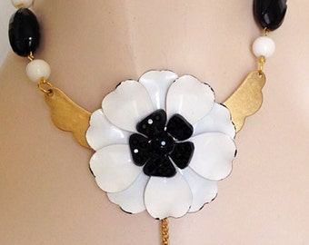 Vintage Enamel Statement Necklace. OOAK Necklace. Brass, Black and White