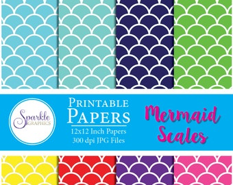 Mermaid Scales Digital Paper, Digital Scrapbook Paper, Printable Scrapbook Paper, Colorful Scrapbook Paper, Commercial Use, MultiColor Pages
