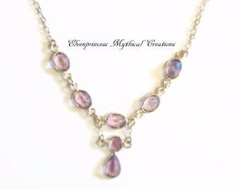Amethyst Gemstone Sterling Silver Necklace, February birthstone, Victorian style necklace, wedding necklace, Aquarius gemstone