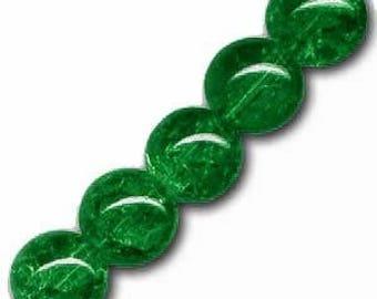 10 x 8 mm dark green Crackle Glass round beads
