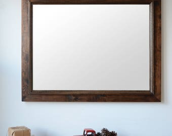 Wooden Mirror with Decorative Moulding - Wall Mirror - Large Wood Mirror - Rustic Mirror - Free Shipping