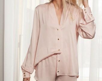 Light Pink Satin Pajama | Woman Satin Pajama | Personalized Pajama | Short Pijama Set | Express shipping | Bridesmaid Pajama