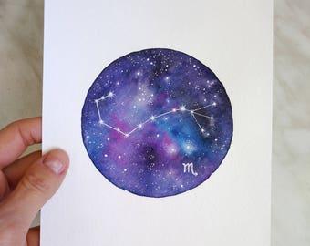 Original Constellation Watercolor  painting Scorpio Zodiac Constellation Star Galaxy Night sky Space painting Scorpio Art Zodiac Art
