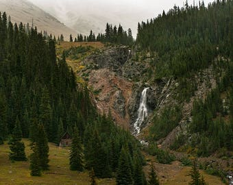 Cabin Forest Print, Mountain Photography, Cabin Decor, Landscape Print, Nature Photography, Scenic Forest Decor,Waterfall Print, Silverton