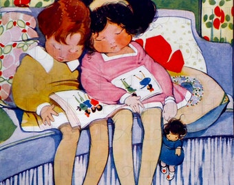 Rare! SANDMAN Sprinkles Sleepy Dust! Hilda Cowham Children. VINTAGE Deco Children DIGITAL Illustration. Digital Print. Digital Download.