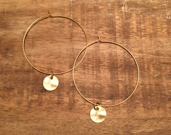 Thin Gold Hoop Earrings with Coin Dangle