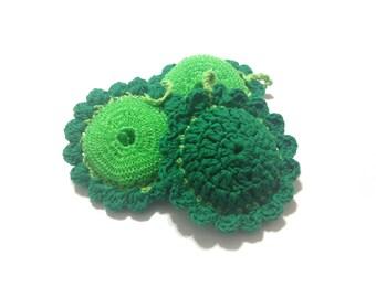 Emerald And Limeburst Flower Green Pot Scrubbers- Trio