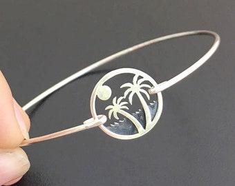 Palm Tree Bracelet Sterling Silver Palm Tree Jewelry Beach Jewelry Bracelet Sunset Jewelry Ocean Jewelry for Women Sunrise Palmtree Jewelry