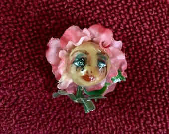 Hand painted Sad Flower Girl Pin