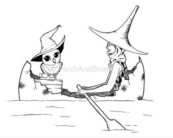 Rowing Witch - Inktober 2017