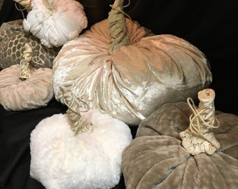 Wonderful Fall fabric pumpkins with handmade stem, velvets and furry and knobby, oh my!!