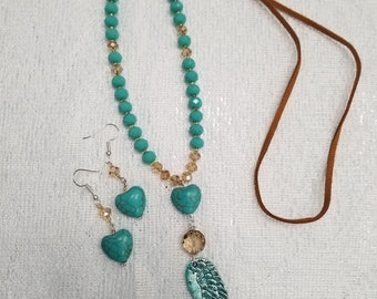 Angel Wing and Heart Necklace Set