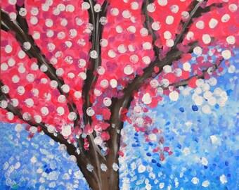 white polka dot tree  30X40