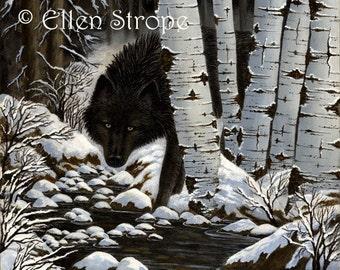 CARD, note card, wolf, black wolf, aspen trees, wolf decor, wolf cards, Ellen Strope, castteam, cabin decor, lodge decor, rustic decor