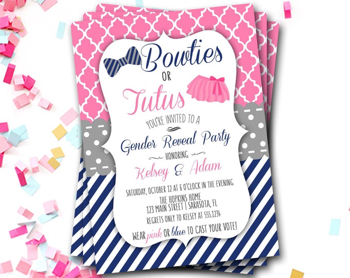 Bowties or Tutus Gender Reveal Invitation, Gender Reveal Baby Shower, Gender Reveal Invite, Gender Reveal Shower, DIY Printable