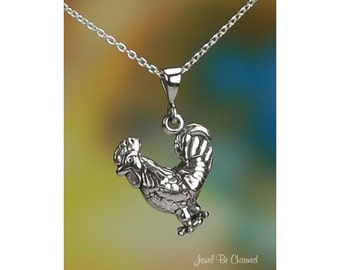 "Sterling Silver Rooster Necklace with 16-24"" Chain or Pendant Only 925"