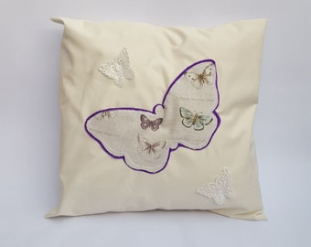 Cream Beige Purple Butterfly Stencil Design Handmade Envelope Style Cushion Cover Lace Butterflies