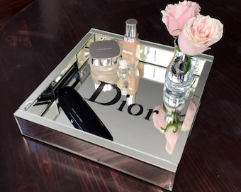 Mirrored Designer Inspired Decorative Tray! Makeup! Vanity!