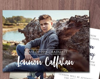 Graduation Announcement Graduation Invitation High School Photo Card Graduation Announcement Boy College Grad Invitation Printable 2 sided