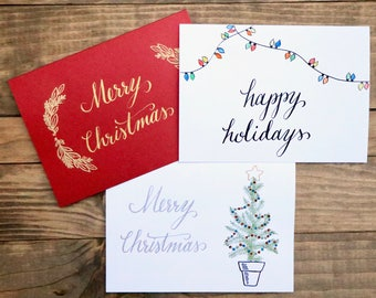 Merry Christmas | Happy Holidays | Calligraphy Card
