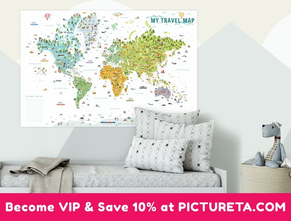 Travel map world map poster kids world map world map wall te gusta este artculo gumiabroncs Image collections