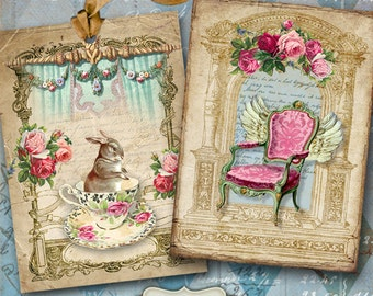 Printable Download CHARMING SHABBY TAGS Digital Collage Sheet Vintage Scrapbooking Paper greeting cards Jewelry holders decoupage Art Cult