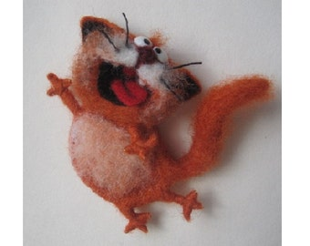 Original brooch, singing cat, felted brooch cat, felt cat, Red-headed cat, Needle felting,  unique gift, Gifts for her