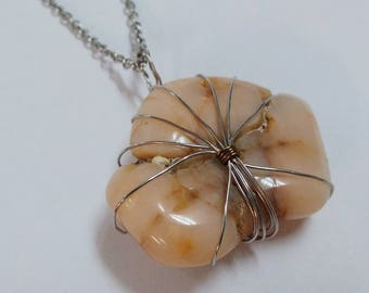 Wire Wrapped Natural Stone Necklace: Yellow Cream