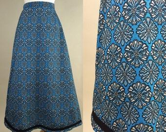 60s Mod Maxi Skirt / Vintage 1960s Long Skirt / Vintage 60s A-Line Skirt / 1960s Retro Maxi Skirt / 60s Retro Mod A-Line Skirt