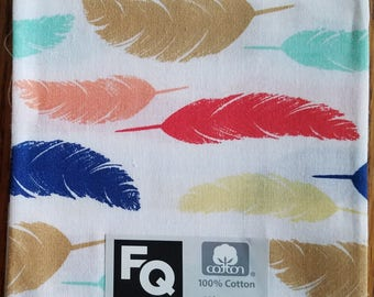 """Fabric Quarters Cotton Fabric 18""""- Feathers on White"""