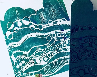 Rita Barakat making waves stamp, doodle stamps, texture stamps, mixed media, foam stamps, Art Foamies