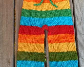 Hand Knitted Wool Longies, Wool Baby Pants, Wool Diaper Cover, Baby Pants, Baby Longies, Hand Knitted Pants, 6-12+ months