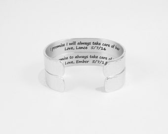 "Mother of the Bride & Groom Gift - ""I promise I will always take care of her"" / ""I promise to always take care of him"" 1/2"" set of 2 cuffs"