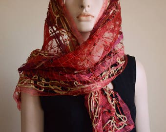 Holiday Lacy Ribbon Scarf Red Gold Gift Evening Dressy Glamorous Sophisticated Free Shipping