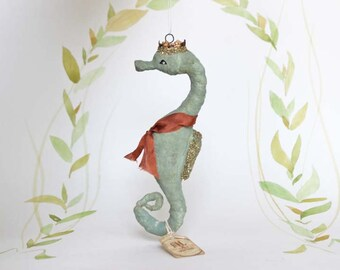 Ornements de Noël nostalgique figure hippocampe ornement spun coton