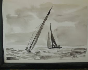 Ink on paper: sailboats