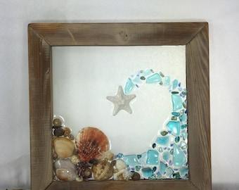 The Seashore. Beach glass, Seashell framed Art