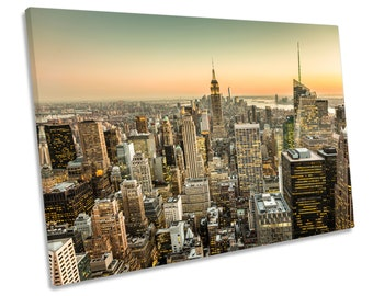 New York City Dusk NYC Picture Canvas WALL ART Print