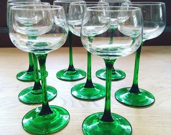 Vintage Luminarc French Green Stem Wine Glasses x 8
