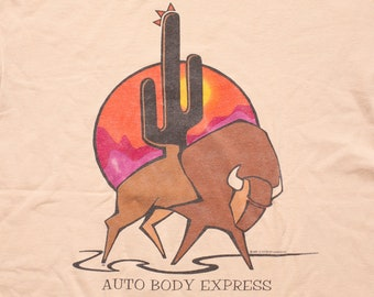 Automobile body etsy auto body express t shirt southwest bison vintage 1990s cactus logo graphic tee car repair company dan fred imus malvernweather Image collections