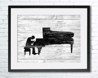 Pianist art illustration print, Piano painting, Piano art, black and white art, Wall art,Rustic Wood art, home decor, music print, music art