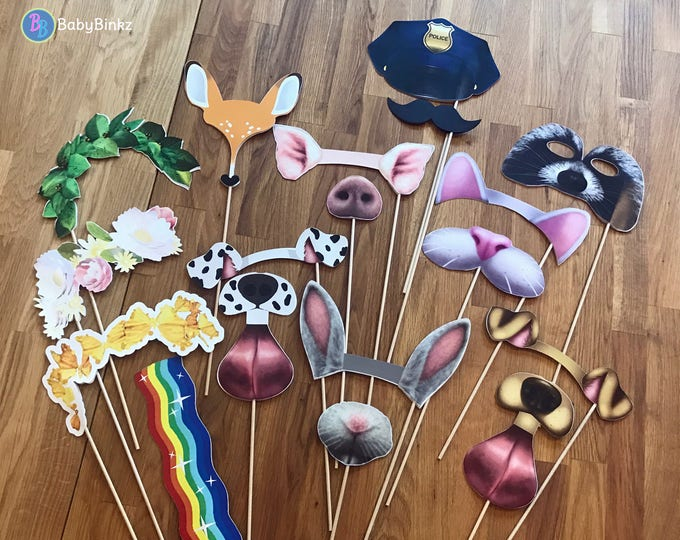 Photo Props: Large Snapchat Filter Inspired 18 pcs Set - party wedding birthday engagement twitter instagram app icon stick snap chat