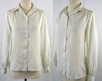 1980s White and Primary Color Polka Dot Blouse by Lady Manhattan