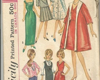 1960s Doll Clothes 11.5 Inch Doll Barbie Tressy Midge Simplicity 5731 Cut Complete plus Extras Vintage Sewing Pattern