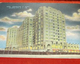 Hotel Ambassador At Night Atlantic City N.J.#106 Vintage Postcard